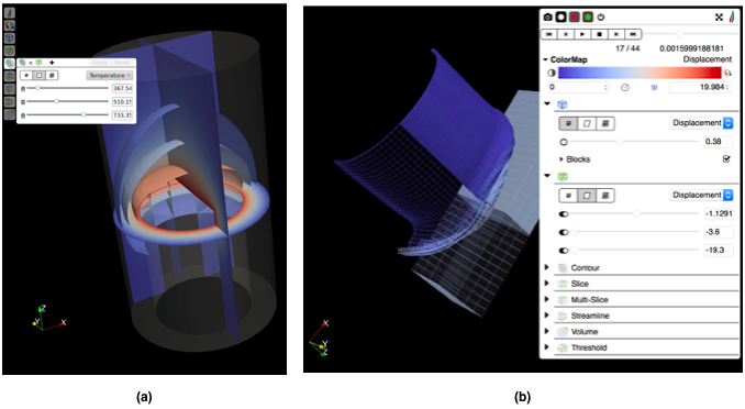 Figure 7: (a) LightViz with the new default user interface, and (b) LightViz with the ArcticViewer interface.