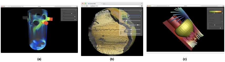 Figure 4: ParaViewWeb's example image viewer, JavaScript or WebGL image compositing viewer, and WebGL viewer for geometry.
