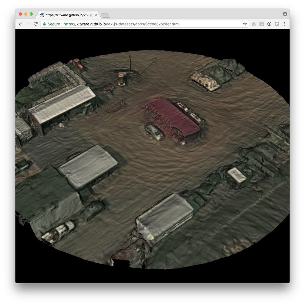 TeleSculptor Mesh - VIRAT Public DataSet, Fort A P  Hill | vtk js